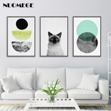 Nordic Decorative Painting Geometry Cat Poster Print Wall Art Canvas Minimalist Style Picture for Living Room