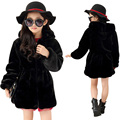 2016 Girls Winter Faux Fur Fleece Girls' Coats Kids Warm Jacket Children Snowsuit Outerwear Dress Style Jacket Spring Fashion F9