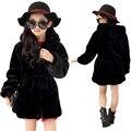 2016 meninas de inverno da pele do falso de lã das meninas casacos crianças quente jaqueta snowsuit crianças outerwear jaqueta estilo dress spring fashion f9