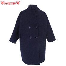 Для женщин Толстые шерстяное пальто Новинка 2017 года Корейская версия длинная куртка с секциями Однотонная одежда свободные двубортный Для женщин шерстяное пальто Xx005