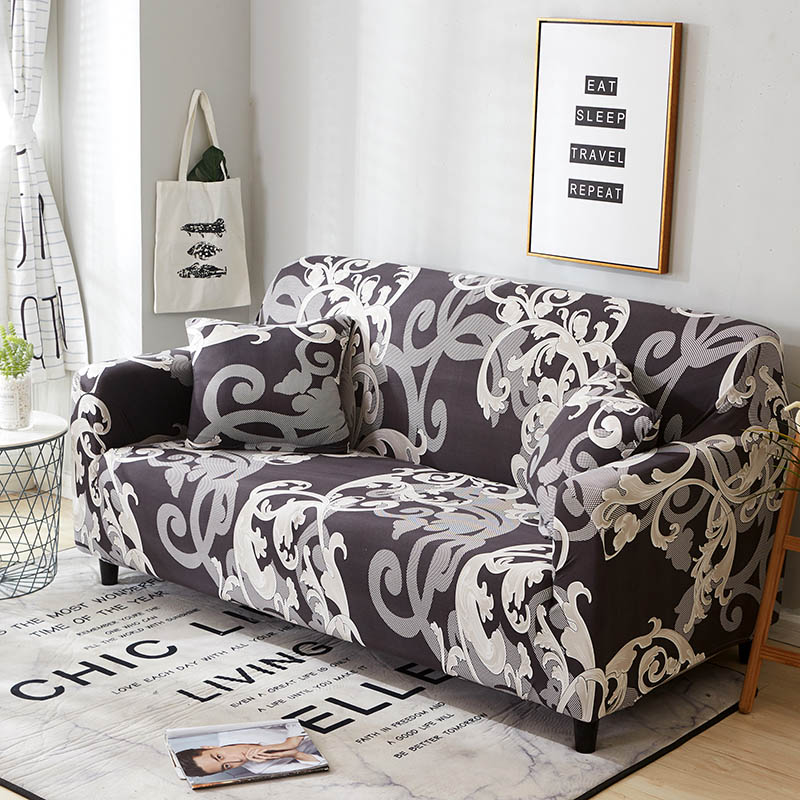 Elastic Spandex Couch Cover with Tight Wrap for Sectional and Corner Sofa in Living Room