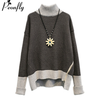 PEONFLY Women Winter Turtleneck Sweater Casual Pullover Jumpers Side Zip Knitted Pull Sweater Warm Thick Turtleneck