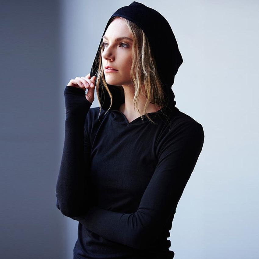 Black T Shirt Women Long Sleeve Hooded Dance Tops Fashion -2010