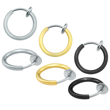 ZS 1 PC Fake Piercing Circle Hoop Earrings High Quality Stainless Steel Piercing