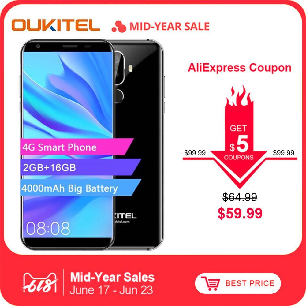 Oukitel K5 4G 5.7 pouces 18:9 affichage MTK6737T téléphone Mobile Android 7.0 2G 16G Quad Core 4000 mAh 3 caméras téléphone intelligent d'empreintes digitales