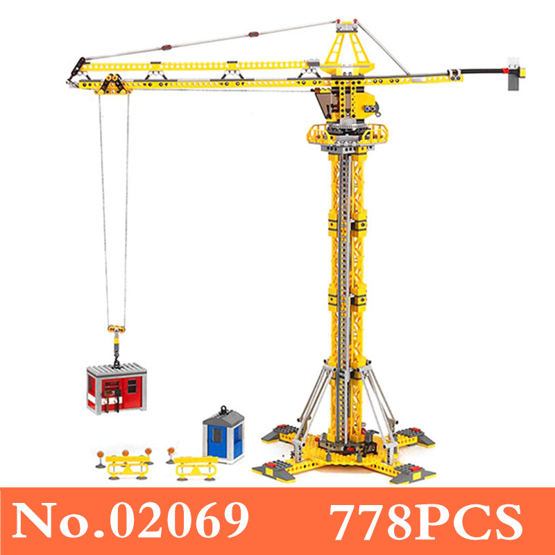 Decool 02069 City Series the Building Crane Set 7905 Building Blocks Bricks City Lifting Machine Children Toys Gift City B202 composite suite new toys dolls crane claw machine excavator simulation vending machine for sale gift machine in operated coins