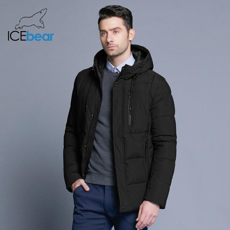ICEbear veste simple de 2018 nouveaux hommes d'hiver de mode manteau à capuchon en tricot manchette de conception mâle thermique mode marque parkas MWD18926D