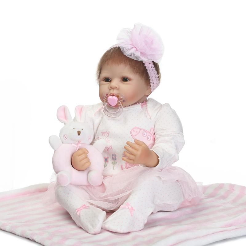 22inch Silicone Baby Bebe Reborn Babies Dolls Lifelike Newborn Girl Babies Toy for Children Pink Princess Doll Birthday Gift pink wool coat doll clothes with belt for 18 american girl doll