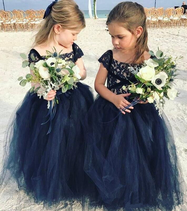 2018 Cheap Lace Flower Girl Dress for Wedding Long Lace Tulle Little Kids First Communion Pageant Gown 2017 red cute flower girl dress for wedding with crystals ruffle tulle baby lace dress little kids pageant gowns