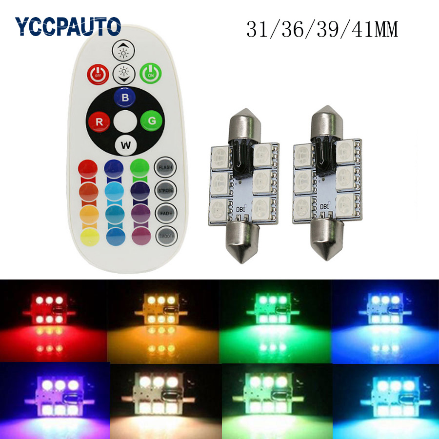 Festoon RGB LED Reading Map Dome Light 31/36/39/41mm Auto Car Interior Light Bulbs With Remote Control Flash Strobe <font><b>16</b></font> Models image