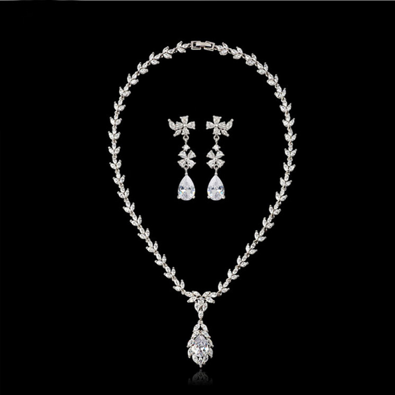 Moonso 925 Sterling Silver Jewelry Sets for women wedding Austrian Crystal Stud Earring and Necklace african J1056 ge4 moonso 925 sterling silver jewelry for women wedding austrian crystal stud earrings and necklace african j1055 ge3