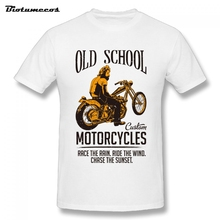 Summer Men T Shirt Old School Custom Motorcycle Letters Printed Short Sleeve O-neck 100% Cotton Tees Shirt Top Clothing MTY073