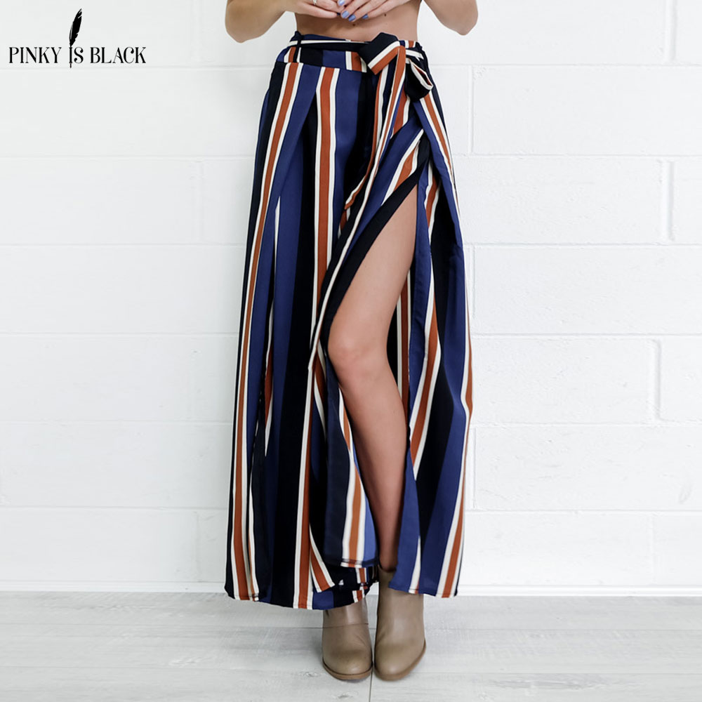 PinkyIsBlack Striped print harem   pants     capri   High split loose casual   pants   women bottom Sash summer trousers high waist   pants   20