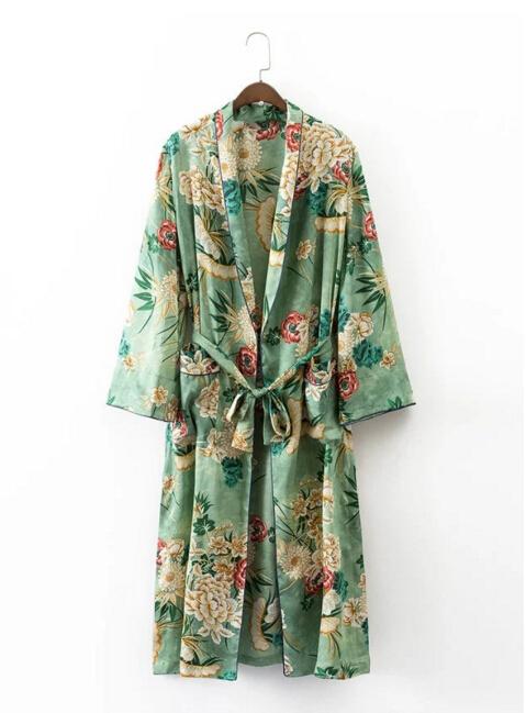HTB1QDg0PVXXXXcLXFXXq6xXFXXXD - Ethnic Flower Print with sashes Kimono Shirt Retro Tops blusas