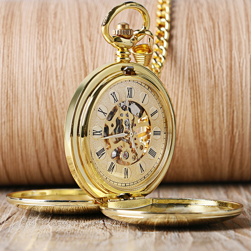 Golden Fashion Smooth Double Full Hunter Case Roman Number Skeleton Steampunk Hand-wind Mechanical Fob Pocket Watches 2016 fashion new glass double full hunter with roman number dial design skeleton mechanical pocket watch for men women gift