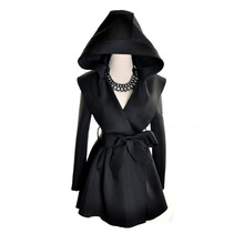 2016 New HOT Fashion women's autumn and winter in Europe and America handsome hooded long sleeve coat jacket Big size,Wholesale