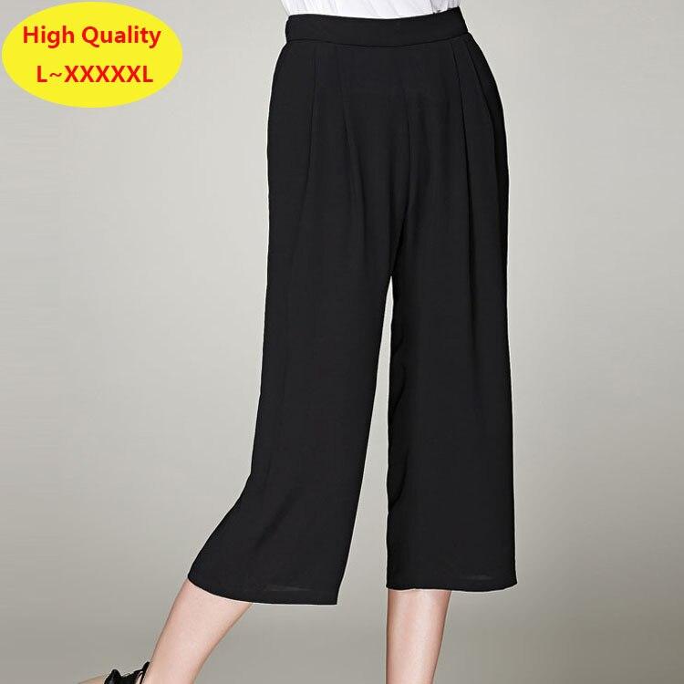 e2c8eb03f8a640 Black Wide Leg Pleated Chiffon Pants 5XL Plus Size Women Capri Pants Casual  Ladies Summer Trousers 4XL Womens Cropped Trousers