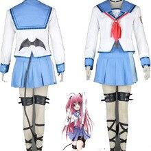 Высокое качество Ангел Beats шикарный Yui косплей костюм комплект весь костюм