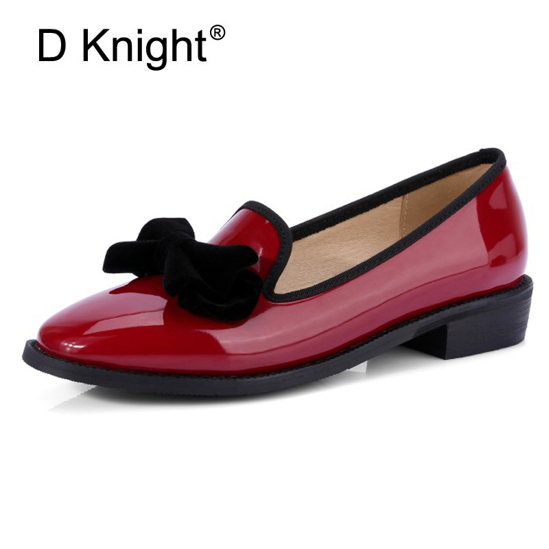 Sweet Bow Ladies Flats Loafer Shoes Patent Leather Slip On Women Oxfords Shoes For Spring Square Toe Platform Brogue Shoes Woman qmn women crystal embellished natural suede brogue shoes women square toe platform oxfords shoes woman genuine leather flats
