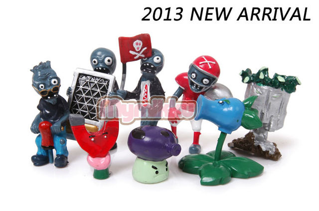 2013 new arrival plants vs zombies action figures 8pcs/set anime toys crazy party version free shipping