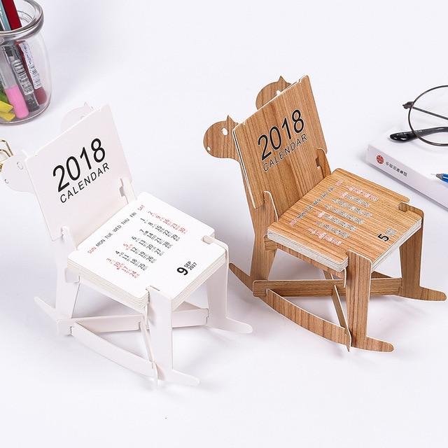 2018 Creative Wooden Horse Diy Chair Style Mini Table Calendars Desk Calendar Office School Supplies 2017 8