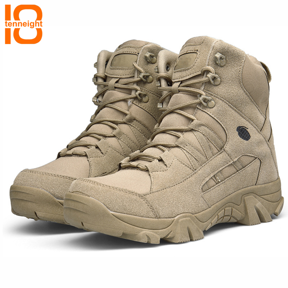 TENNEIGHT High-top outdoor tactical boots Camping Hiking Shoes Men Special Forces Desert Shoes Breathable training combat boots
