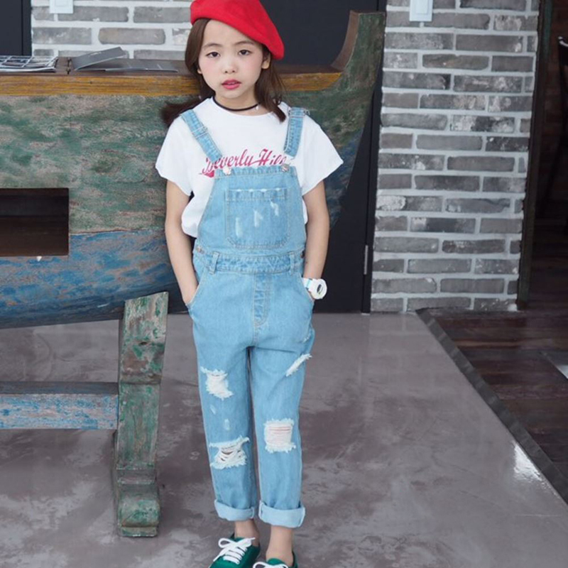 2016 Fashion Korean New Girl Jumpsuit Denim Overalls Casual Girls Pants Jeans Girls Casual Vintage Suspender Jean Trousers 3-15Y 2016 new fashion men vintage trousers casual jeans pants loose plus size 28 42 overalls overalls denim jumpsuit