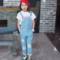 2016 Fashion Korean New Girl Jumpsuit Denim Overalls Casual Girls Pants Jeans Girls Casual Vintage Suspender Jean Trousers 3-15Y