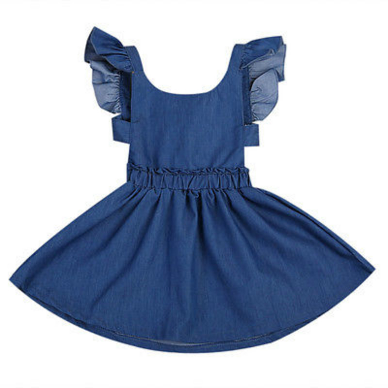 Cute Baby Girls Kids Toddler Summer Ruffles Sleeveless Denim Jeans Tutu Mini Dress Backless Party Short Dresses Sundress 1-5Y shuzhi summer baby girls dress denim sundress girls suspender denim dresses kids cute rabbit embroidery sundress