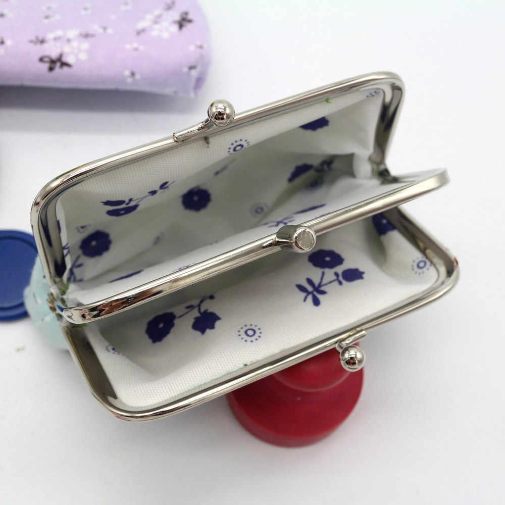 Bolsa de moedas feminina, bolsa de carteira retrô floral com clip