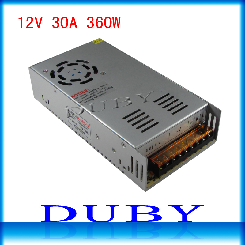 50piece/lot 12V 30A 360W Switching power supply Driver For LED Light Strip Display AC100-240V Factory Supplier Free Fedex батарея duracell basic lr6 4bl 4 шт aa
