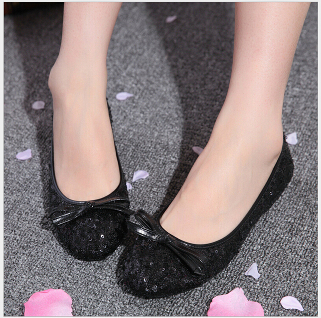 Spring Summer Women Foldable Flats Sequined Bow Slip On Women Ballerinas Shoes Ladies Casual Loafers Boat Shoes