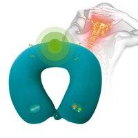 Yüksek kalite boyun U şekli elektrik yastık masaj relax kas ayarlanabilir boyun masaj yastık yeşil ve koyu mavi