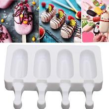 4 Grids Reusable Silicone Popsicle Mold Homemade Food Grade Frozen Freezer Ice Cream Maker Dessert Mold DIY Bar Making Tool  S/L недорого