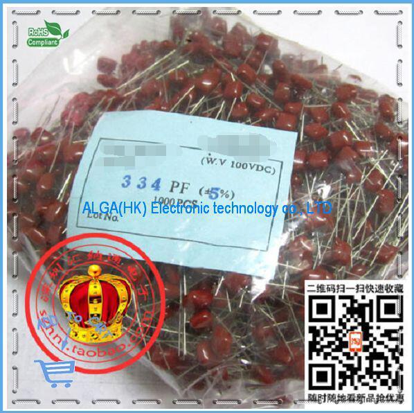 Бесплатная доставка. CBB пленочные конденсаторы 100V334J 330NF 0.33 МКФ шаг 5 ММ 334J100V