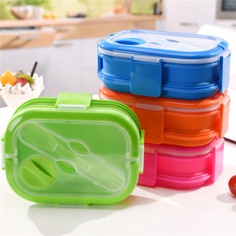 4 Color Colorful Silicone Lunch Box Set For Kids 2 Layers Kitchenware Kitchen Accessories Tableware Food Container With Handle ...
