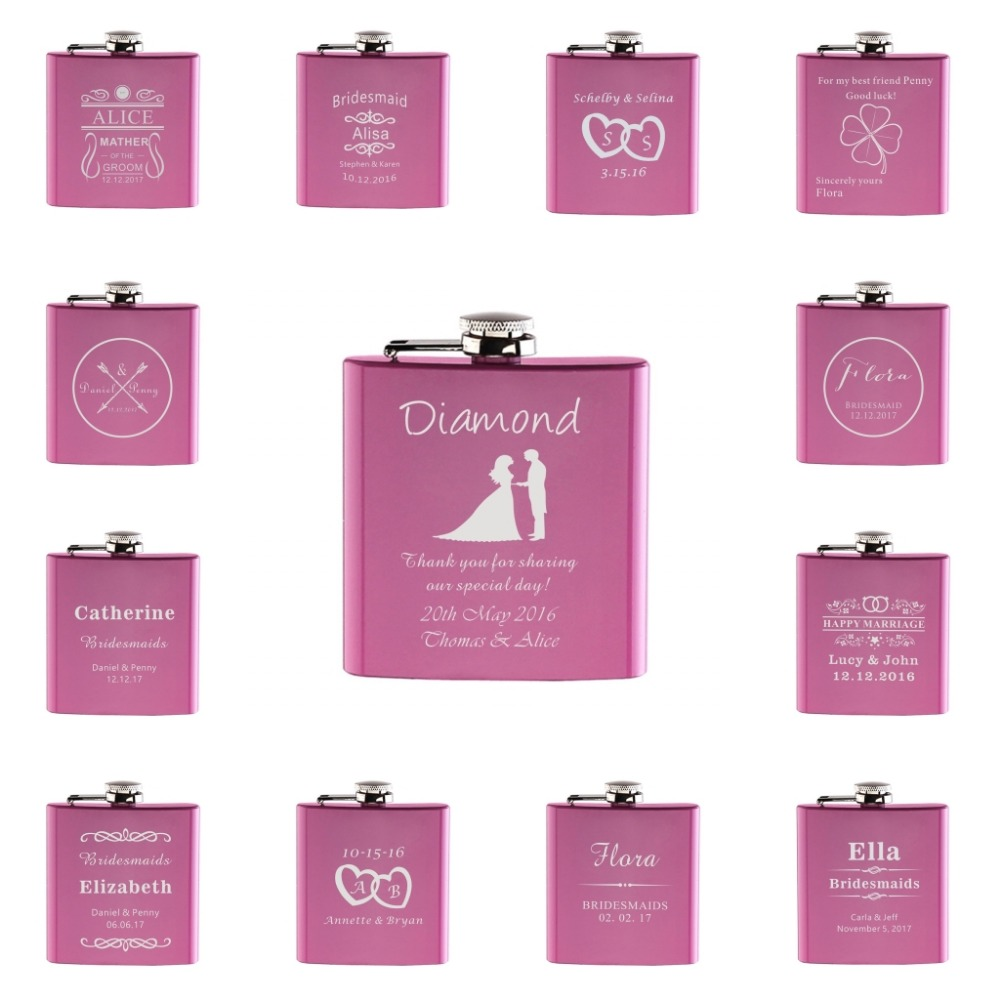 Personalized Engraved 6oz Hip Flask Stainless Steel Wedding Brides Mother Grooms Father  ...