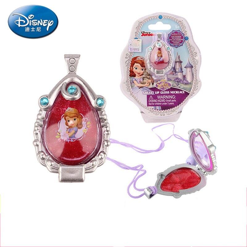 Disney Pretend Play Beauty  Fashion Toys Children's Jewelry Sophia Lip Gloss Crystal Pendant Girl Toy Birthday Gift