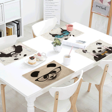 цена на Giant Panda Features Tablecloth 42 * 32 CM Cute Naughty Expression Love Personality Simple Linen Home Dining Cloth Decoration
