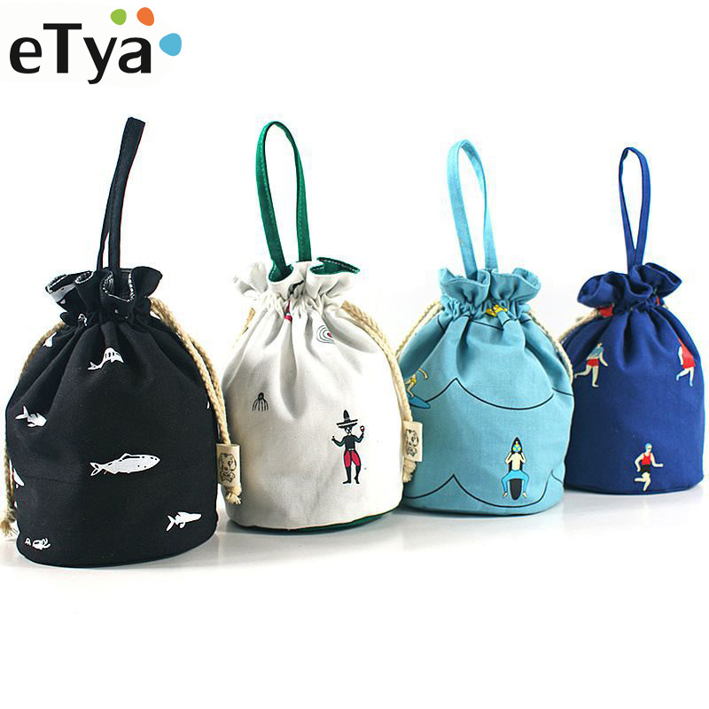 Gift Bags For Children Cotton Canvas Pouch Casual Bucket Shape Drawstring Bags Storage Bags High Quality Printing Coin Purses