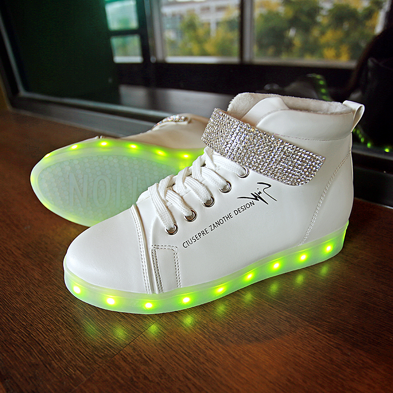 Led Light Up Shoes White High Top Casual Shoes Breathable Man PU Lace Up Flat Led
