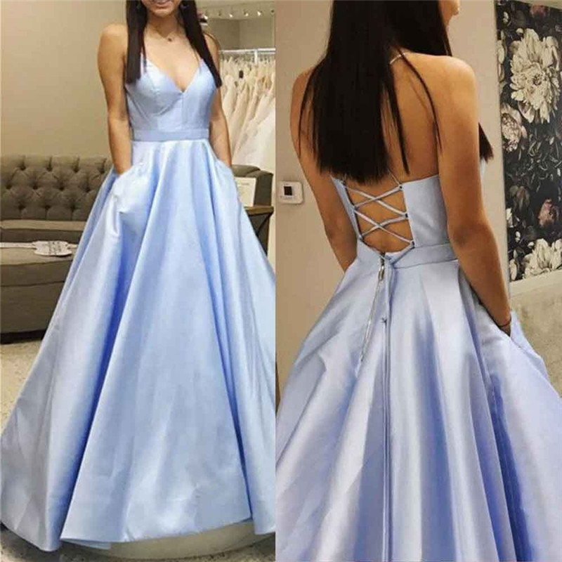 Gorgeous Blue   Prom     Dresses   2019 with Pocket Satin Formal Party   Dress   Custom Make A-line Backless vestidos de fiesta de noche