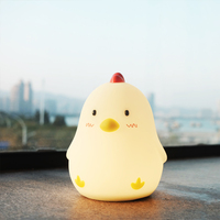 Touch Sensing Digital Show Luminous Electronic Alarm Clock Creative Night Light Silent Snooze Sleeping Timer Chicken Home Decor