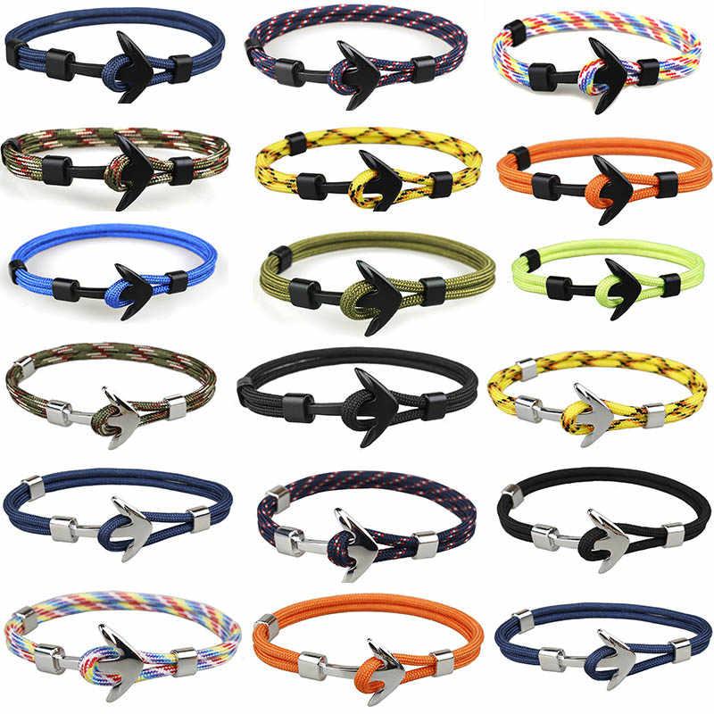 Plata/Negro aleación ancla pulsera Multilayer cadena cuerda Paracord pulsera para las mujeres hombres regalos de estilo marino