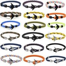 Silver/Black Alloy Anchor Bracelet Multilayer Rope Chain Par