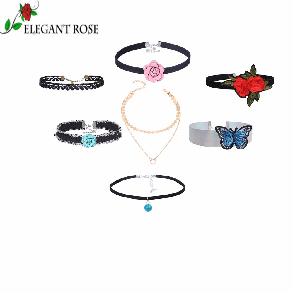ElegantRose Fashion Jewelry 7PCs/Set Ethnic Lace/Velvet/Leather/Cloth/Chain ChokerNecklace For Charm Women Statement CF22