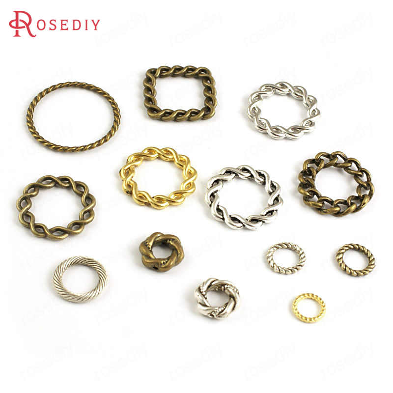 (4338)Wholesale Square Round Closed Circle Twisted Rings Charms Pendants Accessories More styles can picked