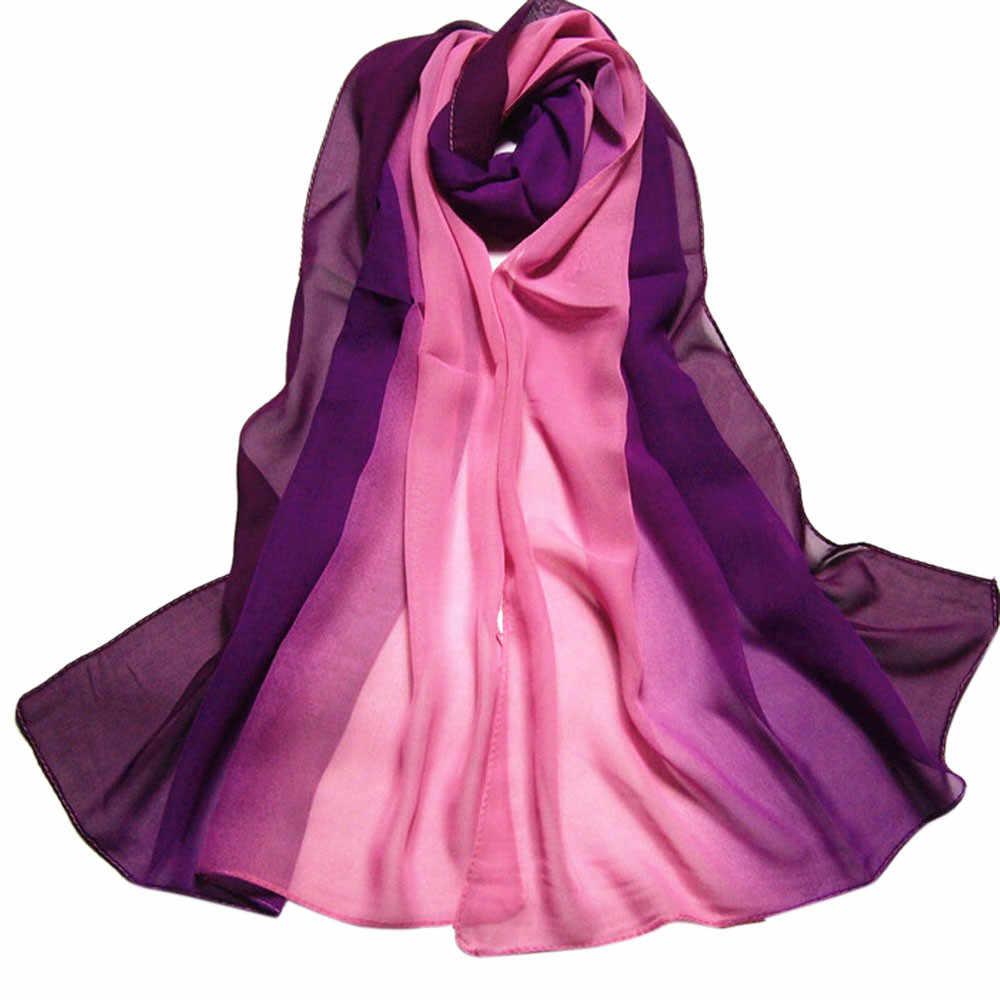 Panas 2019 Musim Semi Musim Panas Fashion Wanita Warna Gradien Lama Bungkus Wanita Selendang Chiffon Syal Syal Foulard Femme Hijab syal