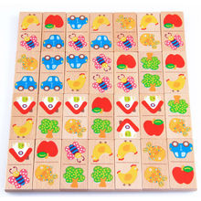 Free shipping  Garden puzzle cognitive blocks, childrens educational toys, 28 PCS matching domino, solitaire wooden toys