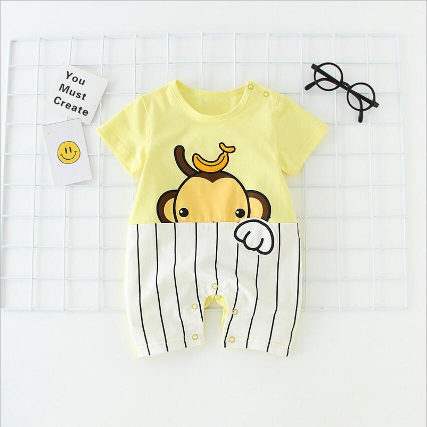 2018 Lovely Cartoon Monkey Cute Dog Infant Rompers Short Sleeve Romper Striped Short Romper For Baby Summer Newborn Onesie New
